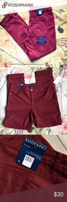 Dark Cabernet Boyfriend Jeans Bandilino Dark Cabernet Boyfriend Fit Jeans. Karyn - The Slim Boyfriend Fit. Sits just below the natural waist, slim leg. Flawless stretch superior stretch and recovery. Really nice jeans, great color! Bandolino Jeans Boyfriend