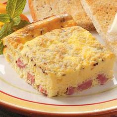 Ham 'n' Cheese Squares Recipe -So easy to prepare, this appetizing egg dish is loaded with ham, Swiss cheese and caraway flavor. It cuts nicely into squares, making it an ideal addition to a brunch buffet. Field editor Sue Ross of Casa Grande, Arizona shared the recipe.