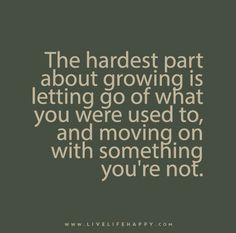 The hardest part about growing is letting go of what you were used to, and moving on with something you're not.