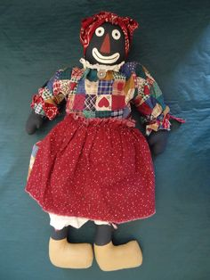 Vintage Handmade Black Americana Cloth BELOVED BELINDY, GOLLIWOG Doll, 20""