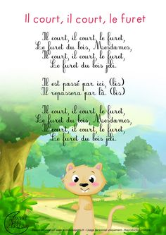 TOUCH this image: il court, il court, le furet by French Poems, French Quotes, French Kids, French Class, French Education, Kids Education, Learning Activities, Kids Learning, Prom Songs