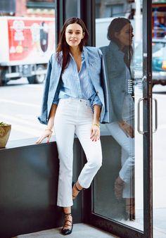 chambray blazer + white jeans