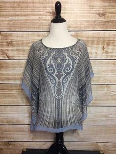 Talbots Blue Grey Scarf Sheer 100% Silk Batwing Kimono Sleeve XS/S #Talbots #Blouse #Casual