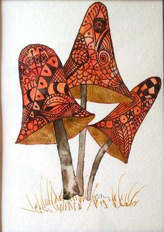 Zentangle art, original art, hand painted watercolor, mushrooms, handpainted artwork, zentangle. $20.00, via Etsy.