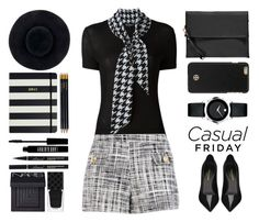 """Casual Friday"" by juliehalloran ❤ liked on Polyvore featuring Salvatore Ferragamo, Boutique Moschino, Boohoo, Yves Saint Laurent, Tory Burch, Movado, Eugenia Kim, Sloane Stationery, Kate Spade and Lord & Berry"