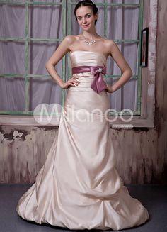 Champagne Net Flower Strapless Ball Gown Wedding Dress - Milanoo.com