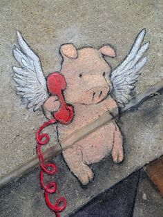 Chalk Art par David Zinn even flying pigs need to call home sometimes. love it!