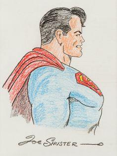 Joe Shuster - Superman Illustration Original Art (undated). Here | LotID #204006 | Heritage Auctions