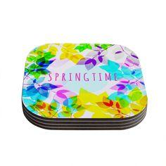 Kess InHouse Sreetama Ray 'Seasons Springtime' Rainbow Leaves Coasters