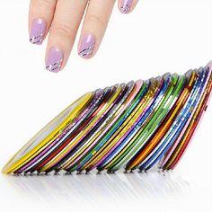 2014 nuovo 10 pz colori misti chiodo rolls del nastro della striatura linea diy nail art tips autoadesivo della decorazione nails cura #8802