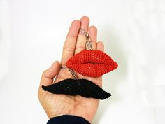 Red lips kiss gift,  Bff unique gift idea, Ooak gift for her, Red lips key chain, Red kiss accessory, Crochet zipper charm, Unisex, Brooch