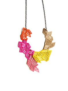 Geomatric Necklace Neon Arrows and Stripes