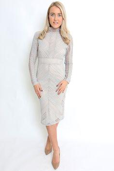 High neck long sleeved white crochet slimline dress