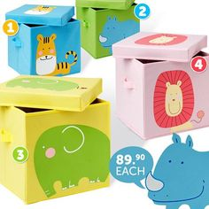 Love these collapsible storage boxes for kids stuff.