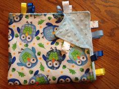 Ribbon Blanket Hoot Hoot the Blue Owl by BlanketsbySheryl on Etsy