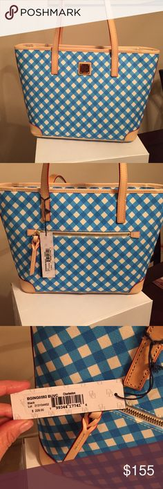 NWT!! Brand new!! Dooney & Bourke gingham purse. NWT!! Brand new!! Dooney & Bourke gingham purse. Charleston style. AUTHENTIC. Dimensions: 15in length X 10in height. Straps are approx 9in hanging. Beautiful tan leather with side zipper. Simply gorgeous!! Great deal!! Dooney & Bourke Bags Shoulder Bags