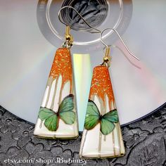 CD earrings Green butterflies with coppery orange and by JBwhimsy, $14.00