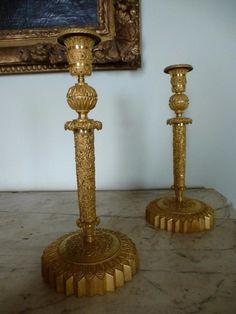 Paire De Bougeoirs En Bronze Doré  Epoque Charles X, Christophe HAVAS, Proantic