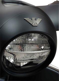the classic armani eagle is located on the headlamp giorgio armani vespa