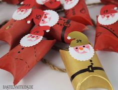 Handicrafts with children - handcraft advent calendars with toilet paper rolls Make your own advent calendar from collected toilet paper rolls. A homemade advent calendar is also a gift idea. Homemade Ornaments, How To Make Ornaments, Homemade Christmas, Homemade Advent Calendars, Diy Advent Calendar, Christmas Gift Decorations, Christmas Crafts, Puppy Crafts, Christmas Toilet Paper