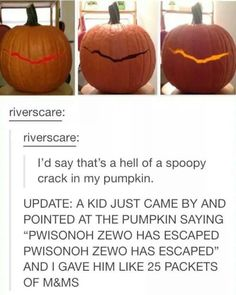 Doctor Who crack in my wall prisoner zero has escaped child halloween carved pumpkin Sherlock, Games Memes, Serie Doctor, Nos4a2, Don't Blink, Geek Out, Dr Who, Superwholock, Tardis