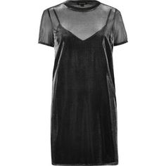 River Island Grey metallic mesh T-shirt dress