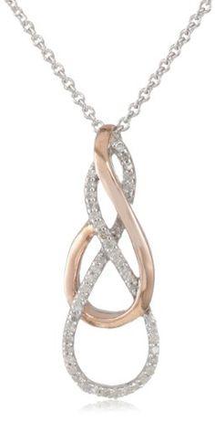 "BESTSELLER! 18k Rose Gold Plated Sterling Silver Diamond Twist Pendant Necklace (1/10 Cttw, I-J Color, I2-I3 Clarity), 18"" $88.00"