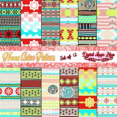 12 Neon Aztec Digital Paper pack Ikat geometric by DigitalMagicShop, $2.50