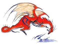 Final Fantasy IV - Red Dragon Concept Art - Yoshitaka Amano