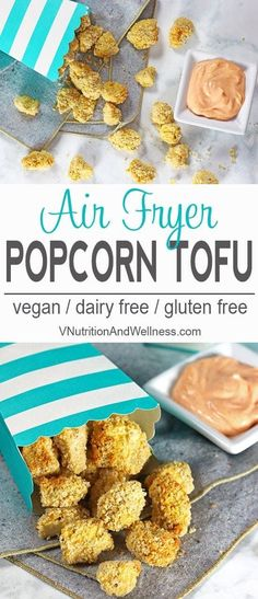 Air Fryer Popcorn Tofu with Sriracha Dipping Sauce Air Fryer Popcorn Tofu is a perfect snack for game day movie night or dinner for the kiddos and is a healthy tofu opti. Healthy Vegan Snacks, Vegan Foods, Vegan Vegetarian, Vegetarian Recipes, Dinner Healthy, Healthy Popcorn, Vegetarian Sandwiches, Going Vegetarian, Vegetarian Breakfast