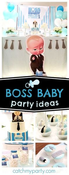 Check out this fun Boss Baby birthday party! The cake pops with ties are awesome!! See more party ideas and share yours at CatchMyParty.com #boybirthday #babyboss