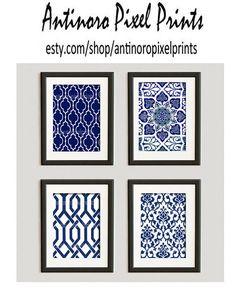 Navys White Vintage / Modern inspired Ikat Art Prints Collection  -Set of (4) - 8x10 Prints -   (UNFRAMED)