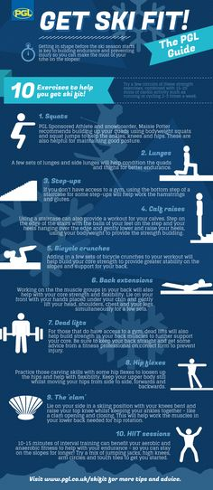 Here are 10 exercises to help get your group ski fit and ready to hit the slopes. - Here are 10 exercises to help get your group ski fit and ready to hit the slopes! A useful guide fo - Snowboards, Snowboarding Exercises, Snowboarding Tattoo, Snowboarding Quotes, Snowboarding Style, Skiing Workout, Ski Racing, Ski Season, Ski Holidays