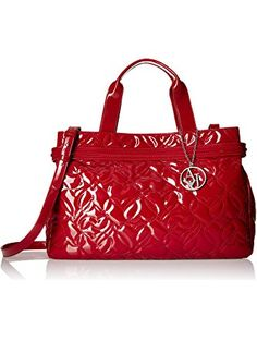 10adf3ec7b Armani Jeans Quilted Heart Design Eco Patent Leather East West Tote with  Magnetic Closure