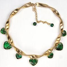 Volupte Braided Gold and Green Spangled Poured Glass Hearts Choker Necklace