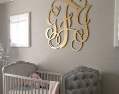 Gold Painted Wooden Monogram Wood Letters Nursery Decor Wedding Guest Book Sign Housewarming Gift Bedroom