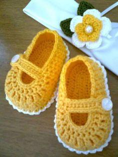 zapatos tejidos a crochet para bebe