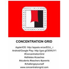 Concentration Grid (Apple/Android app) www.concentrationdgrid.com - mental skills exercise for athletes/coaches and sports performance/psychology professionals ... use mental focus/concentration grids for assessment/conditioning and competitive challenge/fun
