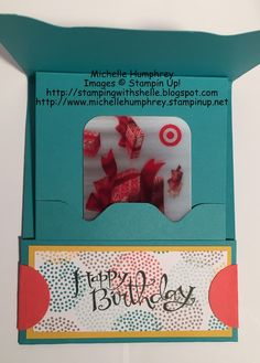 Stamping with Shelle: Sprinkles of Life Envelope Punch Board Gift Card Holder stampingwithshell... #stampinup #sprinklesoflife #giftcardholder #envelopepunchboard