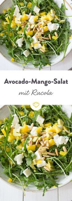 Avocado-Mango-Salat mit Rucola - Rucola-Fans aufgepasst: Das würzige Grünzeug kommt hier mit Mango, Büffelmozarella und Avocado u - Mango Salat, Avocado Salat, Cucumber Salad, Ham Salad, Fruit Salad, Easy Healthy Recipes, Vegetarian Recipes, Easy Meals, Vegan Easy