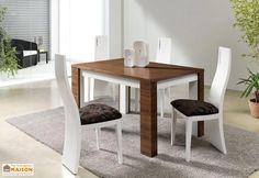 salle manger complte table extensible 140200x90 en noyer massif et mdf nadia