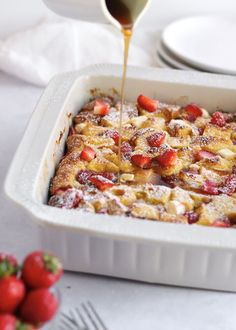 Strawberry Overnight French Toast Bake is the easiest breakfast recipe! Prep it the night before for a special occasion or holiday breakfast. Bread cubes soak up the egg mixture to make a sweet and soft casserole that has pockets of strawberries and cream cheese.How long does it need to sit before baking?I recommend at least two hours so the bread can soak up the egg mixture. But you can even pop it in the fridge overnight for the easiest breakfast in the morning.You can swap in differ… Overnight French Toast, French Toast Bake, French Toast Casserole, Cheesy Pull Apart Bread, Homemade Hot Chocolate, Coconut Chocolate, Herb Butter, Canned Pumpkin, Strawberries And Cream