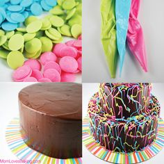 How to make a Jackson Pollock cake http://www.momlovesbaking.com/jackson-pollock-pinata-cake/