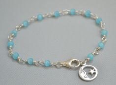 You Are My World~Light blue, Chalcedony, Sterling Silver, wire-wrapped, moon & star charm, bracelet, perfect gift by JewelryDelice on Etsy