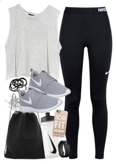 Outfit for the gym with Nike items by ferned on Polyvore featuring Monki, NIKE, MINKPINK, Kara, HM, Casetify and Fitbit