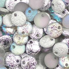 "25 Czech glass 6mm lentil beads in Etched Crystal Rainbow Silver. Flat, disc drop beads, transparent grey and aurora borealis blue, with a part frosted, part textured metallic finish, a/k/a ""vintage finish"", which gives these beads a rustic look. UK seller."
