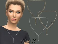 The Sims Resource: Lariat necklace with crystals by NataliS • Sims 4 Downloads
