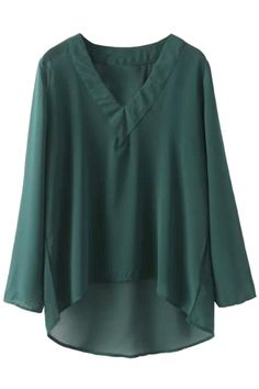 Semi Sheer V Neck High-Low Chiffon BlouseOASAP Giveaway, 10 pieces per day, till the end of 2014! Easiest way to get free clothing!