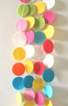 Fun+and+Bright+Felt+Circle+Garland+Felt+Circle+by+jellybeanstudio,+$40.00