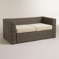 One of my favorite discoveries at WorldMarket.com: All-Weather Wicker Formentera Outdoor Bench with Cushions